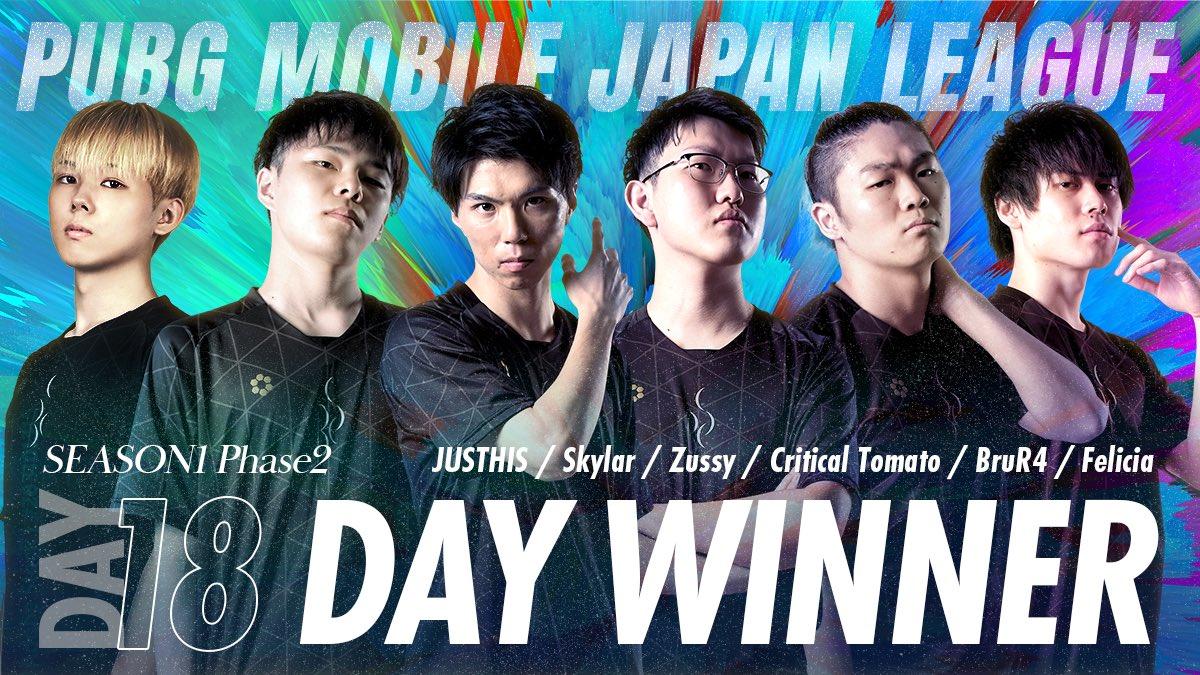 【PUBG MOBILE部門】PMJL DAY18にてDAY WINNERを獲得!!